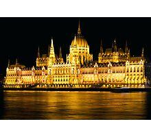 Budapest Parliament Night Shot Photographic Print