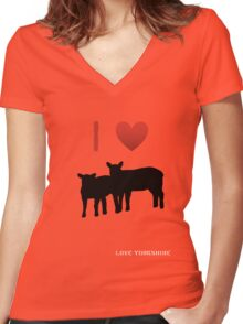 Love Lamb - Love Yorkshire - Silhouette  Women's Fitted V-Neck T-Shirt