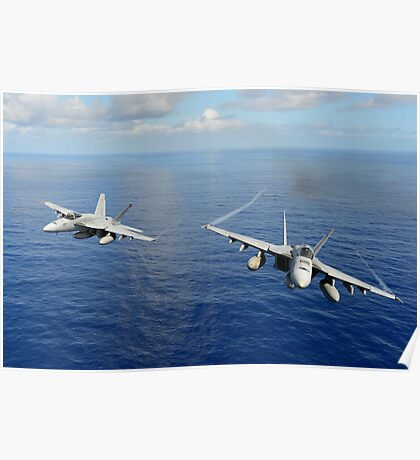 F/A-18 Hornets demonstrate air power. Poster