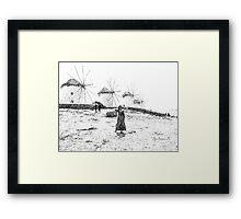 Windmills Mykonos Greece Framed Print