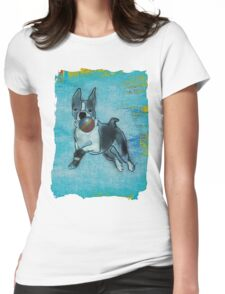 Boston Terrier having fun !  Womens Fitted T-Shirt