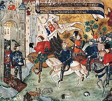 Joan of Arc entering castle of Loches to announce liberation of Orleans to Charles VII by Bridgeman Art Library