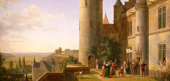 Joan of Arc's arrival at castle of Loches to meet with Charles VII in 1429, Alexandre Millin du Perreux (1764-1843) by Bridgeman Art Library