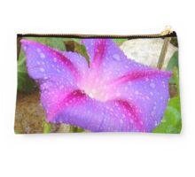 Mauve and Magenta Morning Glory with Water Drops Studio Pouch