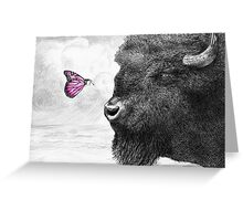 Bison and Butterfly (landscape format) Greeting Card