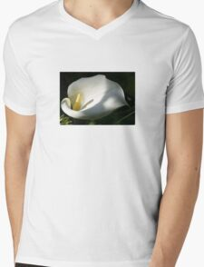 White Calla Lilies Over Black Background In Soft Focus T-Shirt