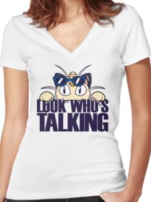Look Who's Talking Women's Fitted V-Neck T-Shirt