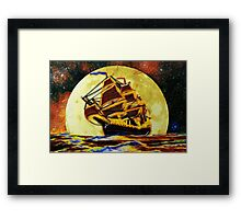 A digital painting of A Ghost Ship from Times Gone By Framed Print