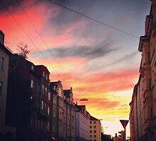 Street Sunset in Munich by Liffey14