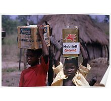 Sierra Leone - Boys With Mobil Oil Can & Coleman Box (1972) Poster