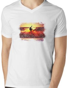 SUNSET SURFER. Mens V-Neck T-Shirt