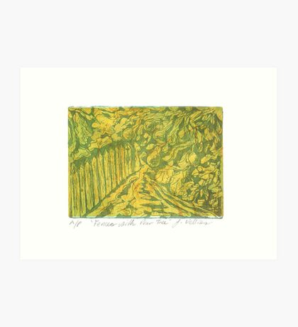 Fences with Pear Tree Art Print