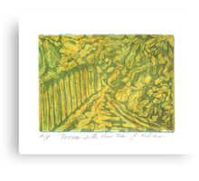 Fences with Pear Tree Canvas Print