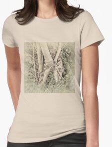 Faded view of a rainforest tree Womens Fitted T-Shirt