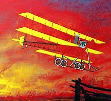 A digital painting of  a Roe IV Triplane 1910 by Dennis Melling