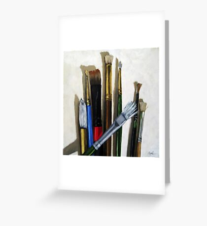 Artists Brushes still life oil painting Greeting Card