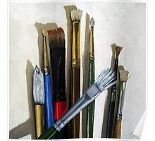 Artists Brushes still life oil painting Poster