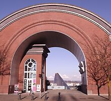 View of the Museum of Glass through the Arch of the Washington State History Museum by seeingred13