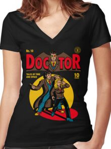 Doctor Comic Women's Fitted V-Neck T-Shirt