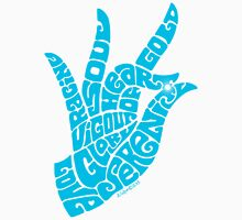 Heart Hand in Bright Sky Blue, Large Version Unisex T-Shirt