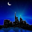 blue City Skyline by Sandra Höfer