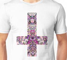 Floral Kaleidoscope - Inverted Cross Unisex T-Shirt
