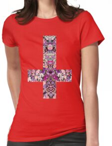 Floral Kaleidoscope - Inverted Cross Womens Fitted T-Shirt