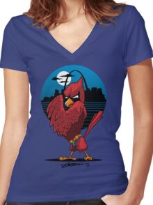 Fredbird the Dark Knight Women's Fitted V-Neck T-Shirt