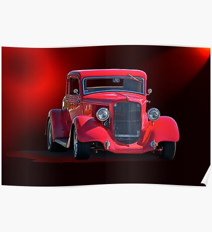 Operating in the Red  - 1934 Plymouth Coupe Poster