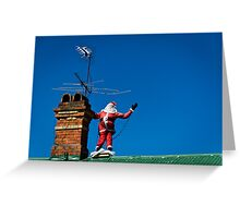 Santa on roof - greeting card Greeting Card
