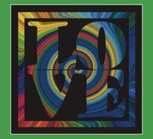 retro color spiral square love t (large back) Kids Tee