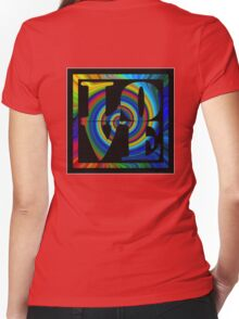 retro color spiral square love t (large back) Women's Fitted V-Neck T-Shirt
