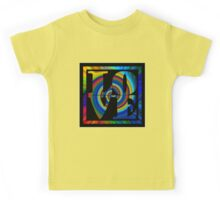 retro color spiral square love t (large back) Kids Tee