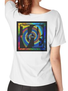 retro color spiral square love t (large back) Women's Relaxed Fit T-Shirt
