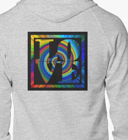 retro color spiral square love t (large back) Zipped Hoodie