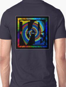 retro color spiral square love t (large back) T-Shirt