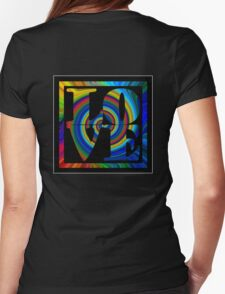 retro color spiral square love t (large back) Womens Fitted T-Shirt