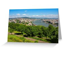 Budapest Panoramic view from The Gellert Hill with Danube river Greeting Card