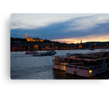 Colorful Sunset In Budapest With A Panoramic View Of The River Danube And The Fishermans Bastion. Canvas Print