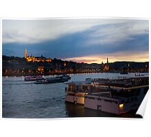 Colorful Sunset In Budapest With A Panoramic View Of The River Danube And The Fishermans Bastion. Poster
