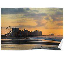 Coastline at Sunrise in Myrtle Beach Poster