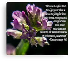 Purple Flower w/Scripture Canvas Print