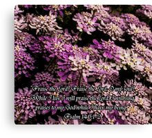 Purple Flowers w/Scripture Canvas Print