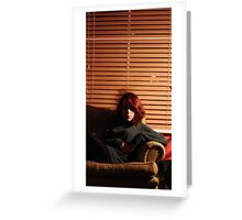 red hair + armchair Greeting Card