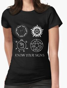 Know Your Signs (for dark shirts) Womens Fitted T-Shirt