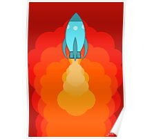 Rocket ship after launch Poster
