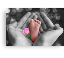*•.¸♥♥¸.•* PRECIOUS BABY'S FOOT I HOLD IN LOVE*•.¸♥♥¸.•* Canvas Print