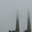 Smoke Stacks Shrouded in Fog by Sandra Gray