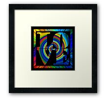 retro color spiral square love art Framed Print