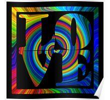 retro color spiral square love art Poster